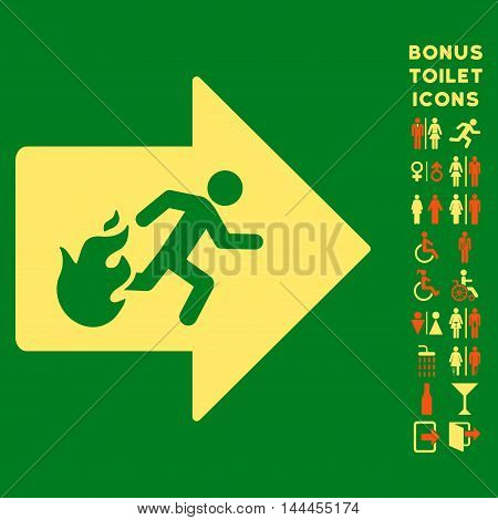 Fire Exit icon and bonus male and lady lavatory symbols. Vector illustration style is flat iconic bicolor symbols, orange and yellow colors, green background.