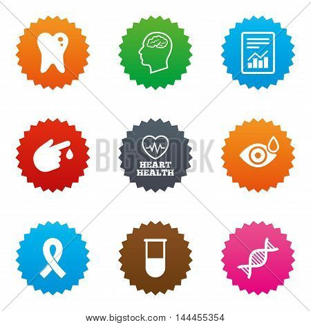 Medicine, medical health and diagnosis icons. Blood test, dna and neurology signs. Tooth, report symbols. Stars label button with flat icons. Vector