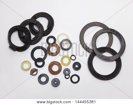 Samples of the seal gaskets for plumbing