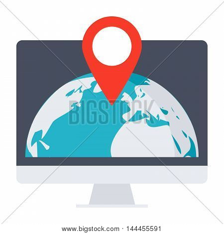 Location concept with computer, globe and pointer.