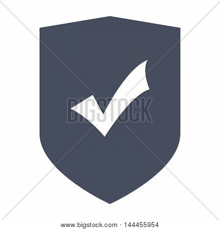 Protection Concept with shield and check mark in flat style.