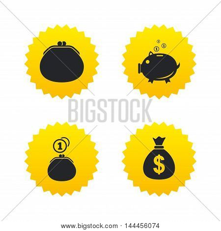 Wallet with cash coin and piggy bank moneybox symbols. Dollar USD currency sign. Yellow stars labels with flat icons. Vector