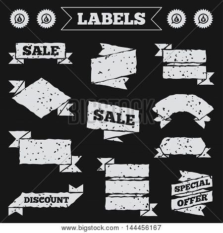 Stickers, tags and banners with grunge. Money bag icons. Dollar, Euro, Pound and Yen speech bubbles symbols. USD, EUR, GBP and JPY currency signs. Sale or discount labels. Vector
