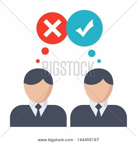 Decision making concept with businessman in flat style.