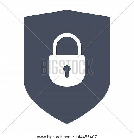Protection Concept with shield and lock in flat style.