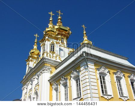 Fragment of the Church in Peterhof. Temple. Landmark. Tourist attraction. Monument of architecture. Suburb of Saint Petersburg.