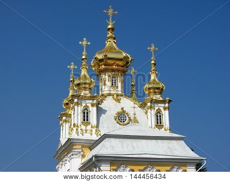 The domes of the Church in Peterhof. Temple. Landmark. Tourist attraction. Monument of architecture. Suburb of Saint Petersburg.