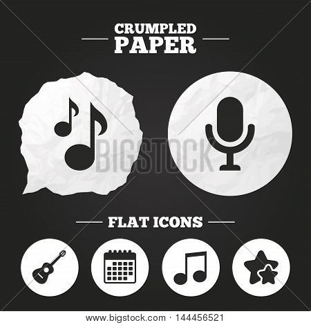 Crumpled paper speech bubble. Music icons. Microphone karaoke symbol. Music notes and acoustic guitar signs. Paper button. Vector