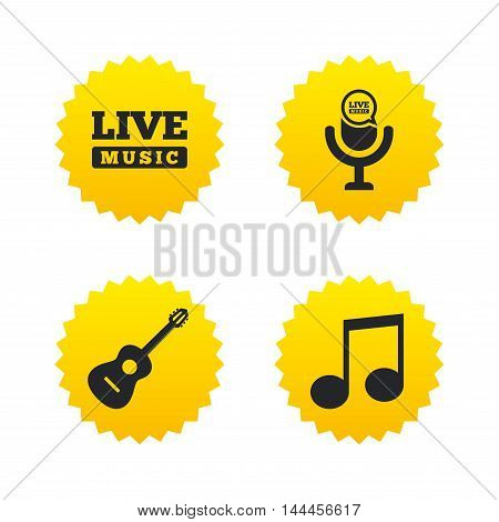 Musical elements icons. Microphone and Live music symbols. Music note and acoustic guitar signs. Yellow stars labels with flat icons. Vector