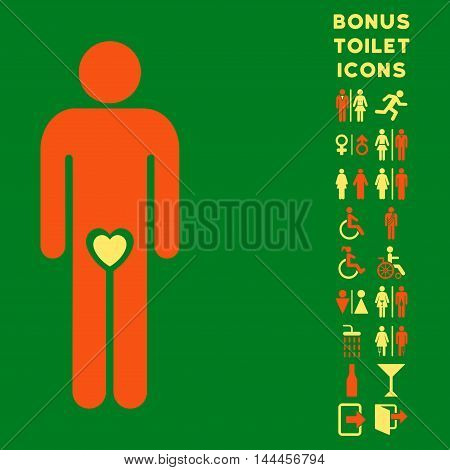Lover Guy icon and bonus gentleman and female lavatory symbols. Vector illustration style is flat iconic bicolor symbols, orange and yellow colors, green background.