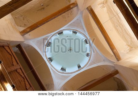 VELIKY NOVGOROD RUSSIA- AUGUST 26 2016. Arched ceiling in the interior of Church of the Transfiguration of Savior on Kovalevo in Veliky Novgorod Russia. Soft filter applied