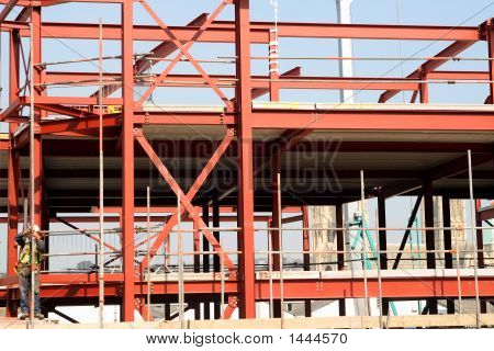 Red Steel Girders Construction Frame.