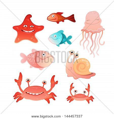 Vector illustration of a collection of marine inhabitants
