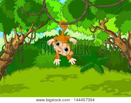 Illustration of monkey on a tropical forest landscape