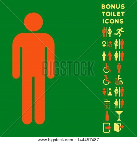 Man icon and bonus male and woman lavatory symbols. Vector illustration style is flat iconic bicolor symbols, orange and yellow colors, green background.
