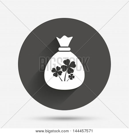 Money bag with Clovers sign icon. Saint Patrick symbol. Circle flat button with shadow. Vector