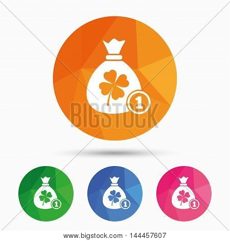 Money bag with Clover and coin sign icon. Saint Patrick symbol. Triangular low poly button with flat icon. Vector