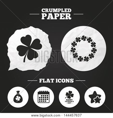 Crumpled paper speech bubble. Saint Patrick day icons. Money bag with clover sign. Wreath of quatrefoil clovers. Symbol of good luck. Paper button. Vector
