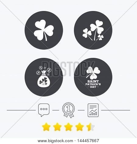 Saint Patrick day icons. Money bag with clover and coins sign. Trefoil shamrock clover. Symbol of good luck. Chat, award medal and report linear icons. Star vote ranking. Vector