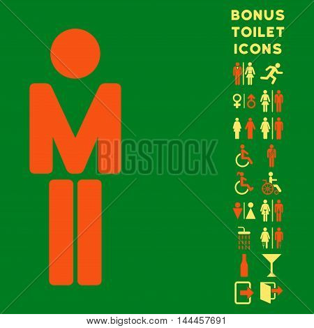 Man icon and bonus man and female toilet symbols. Vector illustration style is flat iconic bicolor symbols, orange and yellow colors, green background.