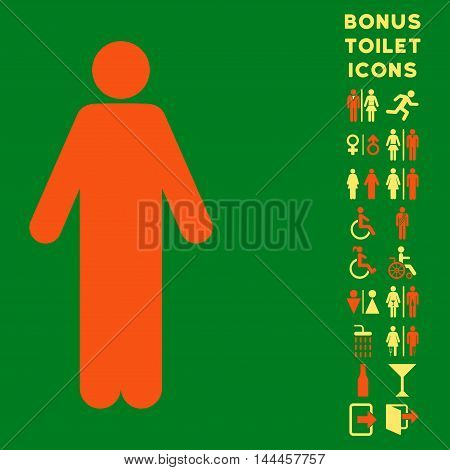 Man icon and bonus gentleman and lady toilet symbols. Vector illustration style is flat iconic bicolor symbols, orange and yellow colors, green background.