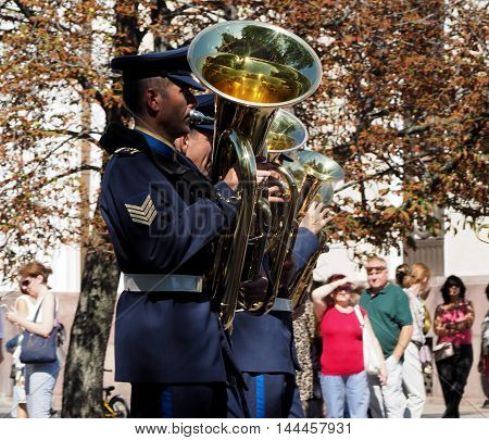 MOSCOW, RUSSIA - August 27, 2016: Tuba rank in brass band of Greece. Festival of military orchestras