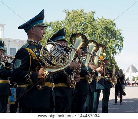 MOSCOW, RUSSIA - August 27, 2016: French horn and tuba rank in brass band of Kazakhstan. Festival of military orchestras