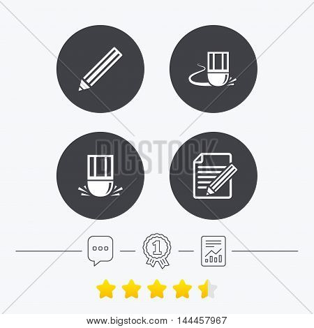 Pencil icon. Edit document file. Eraser sign. Correct drawing symbol. Chat, award medal and report linear icons. Star vote ranking. Vector