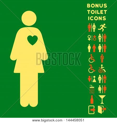 Mistress icon and bonus gentleman and lady restroom symbols. Vector illustration style is flat iconic bicolor symbols, orange and yellow colors, green background.