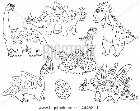 Vector black and white dinosaurs with babies and eggs