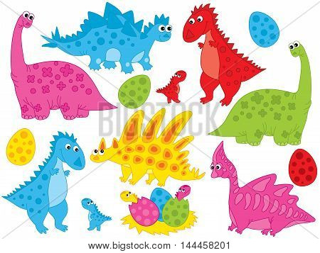 Vector colorful dinosaurs with babies and eggs