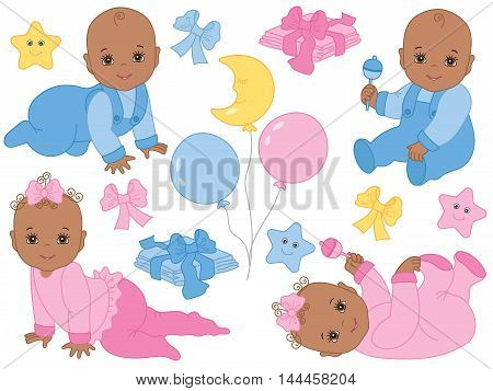 Vector African American infant baby boys and baby girls with balloons, rattles and toys