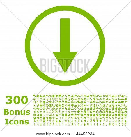 Down Rounded Arrow icon with 300 bonus icons. Vector illustration style is flat iconic symbols, eco green color, white background.