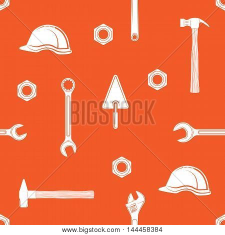 Working tools background. Labor Day vector seamless pattern.