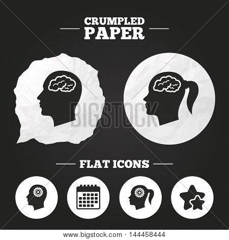 Crumpled paper speech bubble. Head with brain icon. Male and female human think symbols. Cogwheel gears signs. Woman with pigtail. Paper button. Vector