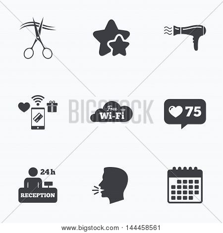 Hotel services icons. Wi-fi, Hairdryer in room signs. Wireless Network. Hairdresser or barbershop symbol. Reception registration table. Flat talking head, calendar icons. Stars, like counter icons. Vector