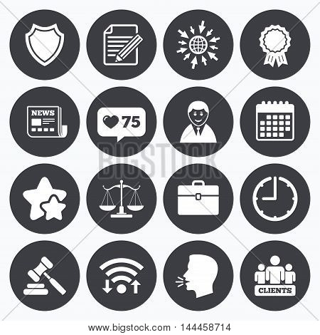 Calendar, wifi and clock symbols. Like counter, stars symbols. Lawyer, scales of justice icons. Clients, auction hammer and law judge symbols. Newspaper, award and agreement document signs. Talking head, go to web symbols. Vector