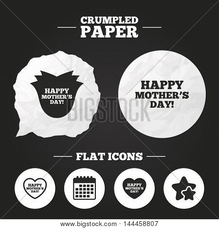 Crumpled paper speech bubble. Happy Mothers's Day icons. Mom love heart symbols. Flower rose sign. Paper button. Vector