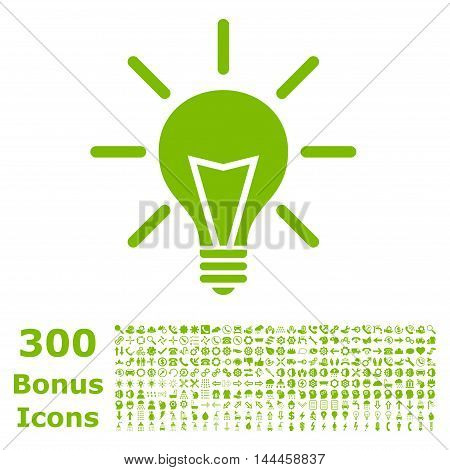Electric Light icon with 300 bonus icons. Vector illustration style is flat iconic symbols, eco green color, white background.