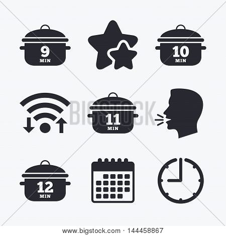 Cooking pan icons. Boil 9, 10, 11 and 12 minutes signs. Stew food symbol. Wifi internet, favorite stars, calendar and clock. Talking head. Vector