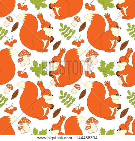 Vector seamless pattern with cute squirrels, mushrooms, berries and leaves