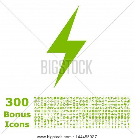 Electricity icon with 300 bonus icons. Vector illustration style is flat iconic symbols, eco green color, white background.