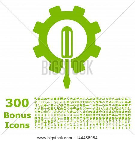 Engineering icon with 300 bonus icons. Vector illustration style is flat iconic symbols, eco green color, white background.