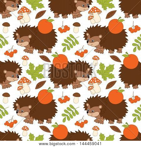 Vector seamless pattern with cute hedgehogs, mushrooms, apples and leaves
