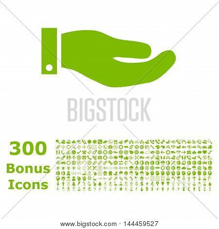 Hand icon with 300 bonus icons. Vector illustration style is flat iconic symbols, eco green color, white background.