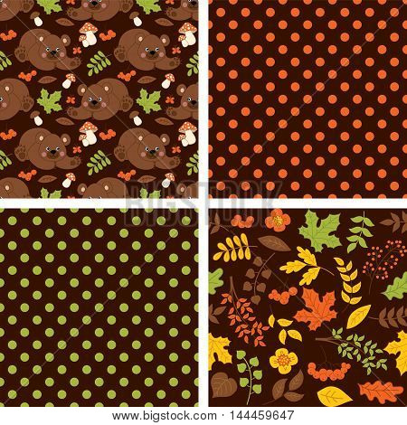 Vector woodland seamless pattern set with bears, amanita, leaves, berries and polka dot