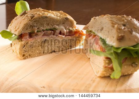 Sandwich Cut In Half With Fresh Smoked Meat