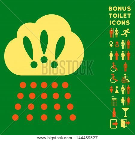 Storm Cloud icon and bonus man and woman WC symbols. Vector illustration style is flat iconic bicolor symbols, orange and yellow colors, green background.