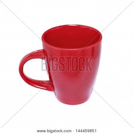 Red porcelain cup isolated on white background