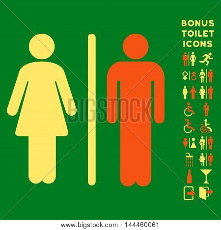 WC Persons icon and bonus gentleman and female lavatory symbols. Vector illustration style is flat iconic bicolor symbols, orange and yellow colors, green background.